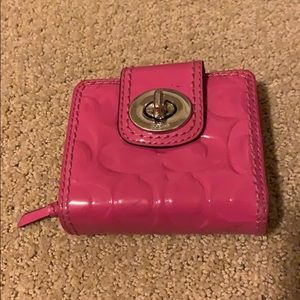 Small pink patent Coach wallet
